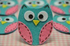 Set of 6pcs handmade felt owl--tro. turquoise (FT722)