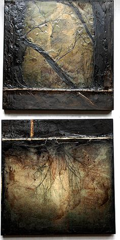 "Artist Linda Plaisted, Encaustic Mixed Media- each 10 x 10"", oil pigment, walnut ink, twine, beeswax on cradled birch panel."