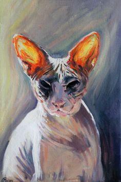 """Agatha"" Lana Marandina Krivoy Rog, Ukraine  See more at: http://pussiesonparade.com/  #cat #cats #catart #catpainting #kitten #kitty #sphinx #sphynx"