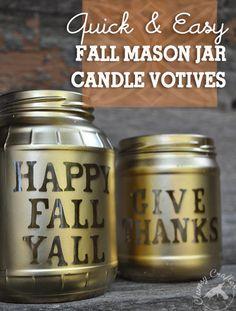 Mason Jar Candle Votives for Fall by @bobbiejbyrd   Super cute Fall Decor
