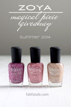 I'm giving away the entire Zoya Magical PixieDust Summer 2014 collection at http://www.fabfatale.com/2014/06/manicure-mondays-zoya-magical-pixiedust-summer-giveaway/ #nailpolish #giveaway #zoya