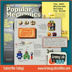 """GROOVY #STEM NEWS! Popular Mechanics has included @GroovyLabInABox in its """"100% Wholesome Holiday Toy Guide""""!  Looking for the perfect holiday gift for your #STEMist? Check them out: www.GroovyLabinaBox.com #STEM #homeschooling #holiday #gifts #parenting"""