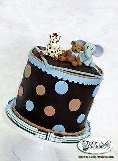 boy baby showers, baby shower cakes, beauti cake, blue, babi shower