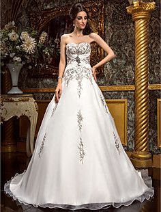 A-line Sweetheart Court Train Chiffon Wedding Dress (492767... – USD $ 197.99