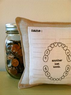 tooth fairy chart pillow