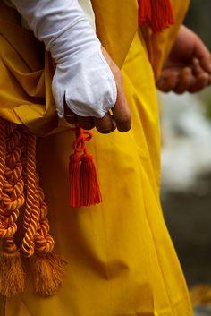 The detail of Yamabushi (warrior monk)'s outfit for The Setsubun Hoshi Matsuri at Kiburi Temple, Gifu, Japan