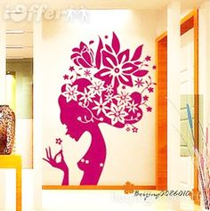 Floral spring princess---art Vinyl Wall Stickers decal