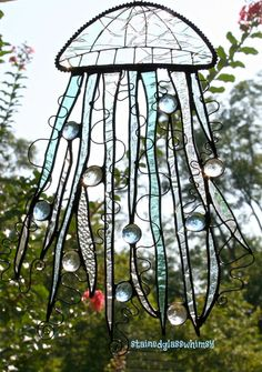 glass jellyfish, thought, stain glass, stained glass