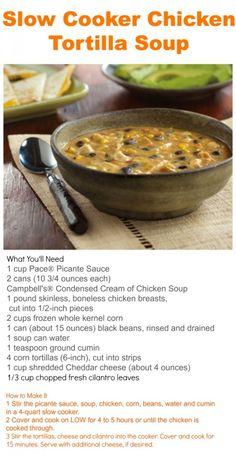 Slow cooker tortilla soup recipe. #crockpot #slowcooker