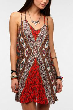Staring At Stars Scarf Print Frock Dress #urbanoutfitters