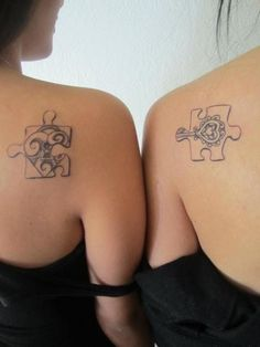 Friendship Tattoos. In my case hubby/wife tattoos! I've been wanting to get puzzle piece tattoos with my man! This is the greatest idea. He truly does hold the key to my heart!