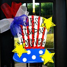 4th of July Wreath Door Hanger 4th of July Decor by LooLeighsCharm, $45.00