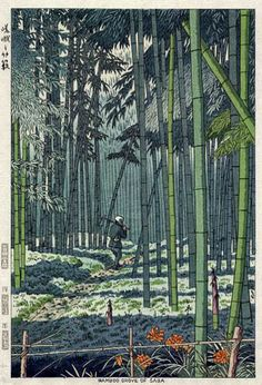 Bamboo Grove of Saga  by Takeji Asano, 1953  (published by Unsodo)
