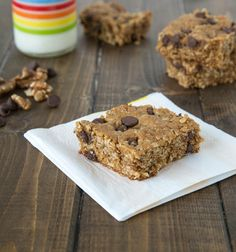 Walnut Chocolate Chip Protein Bars; great for snacks, breakfast, or even lunch box treats!
