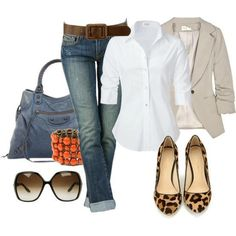 Cuffed Jeans. White Button Down. And Leopard Flats.