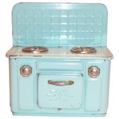 Vintage Child's Toy Tin Aqua Colored Stove