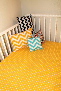 Bright and sunny crib bedding!  #nursery #yellow #chevron #polkadotsheet