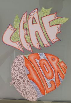 """Fall- Words, Shapes, and Patterns. My 5th graders did these for the first fall art lesson using colored pencil. Draw shape on 9"""" x 12"""" paper, fill it with the word label, use color and patterns to fill in. Used words like: bat, cat , pumpkin, witch, candy corn, pumpkin pie, acorn, leaf, any fall words will do."""