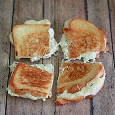 White Pizza Grilled Cheese. All the flavors of classic white pizza in the form of grilled cheese goodness.