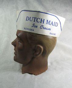 Vintage 1950s Dutch Maid Ice Cream Soda Fountain Jerk Hat Kenosha Racine WI