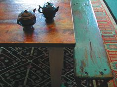 Beautiful colours in the copper table and contrasting bench and carpet