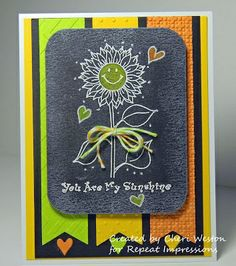 How to create #chalkboard or #blackboard style cards...  Cheri Weston created this sweet sunflower card for us and shares her technique on our blog. Rubber stamps by Repeat Impressions. - www.repeatimpressions.com - #repeatimpressions #rubberstamps #rubberstamping #cardmaking