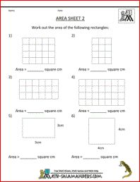 Area Worksheets, a math worksheet on area for 3rd graders
