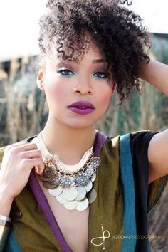 eye makeup, color schemes, blue, natur hair, natural hair styles, side bangs, hair makeup, lip colors, curly hair