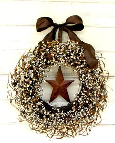 RUSTIC FALL Star Door Wreath-Fall Door Wreath-Brown Wreath-Primitive Country-Rustic Home Decor-Scented Mulled Cider -Choose Scent and Ribbon