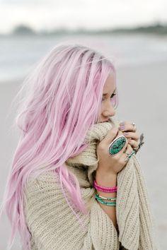 Pink hair .
