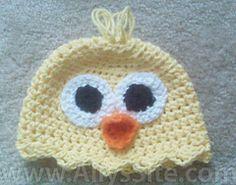 Free Crochet Baby Chick Hat Pattern.