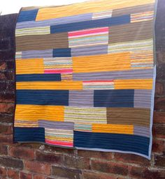 Geometric Stripe Quilt in Mustard Grey and by IssabellaTheCat, £95.00