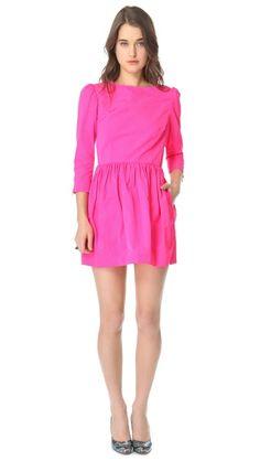 neon pink minidress with full skirt