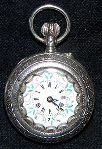 c1890 Victorian lapel watch,  silver,