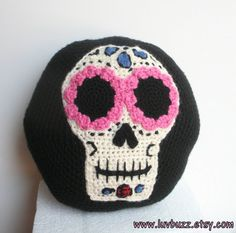 Sugar Skull Pillow decorative crochet round accent by luvbuzz, $50.00