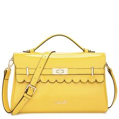Yellow Candy Color Patent Leather Handbag