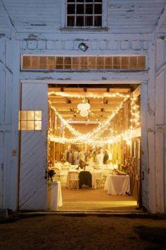 wedding receptions, barn reception, white lights, wedding ideas, country weddings