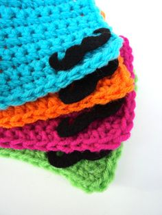 Crochet Mustache Coasters Set of Four by DoodleBumpkin on Etsy