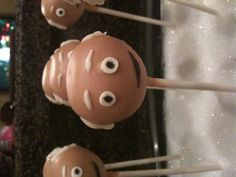Bald men cake pops for a 60th birthday party! Such a cute idea!