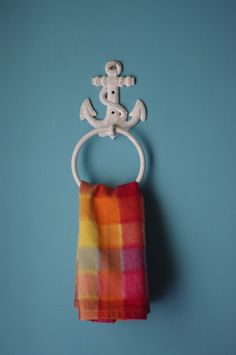 Cast Iron Anchor Towel Ring  PICK YOUR COLOR by ByTheSeashoreDecor, $24.00