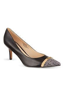 NINE WEST | Auriela court shoes in black and snakeskin | Leather upper, synthetic lining and sole | Heel height: 3"