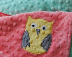 Coral and Mint Owl Baby Blanket Owl Crib bedding Owl Nursrey