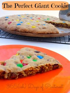 perfect giant cookie cake- I made this for tailgate. I bought a foil pizza pan and made in that. I sprayed it first. This cookie was thick and amaaaaazing. I stirred the m and ms in the batter, not put them in the top.