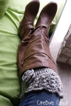 Crochet Boot cuff PATTERN - Must-have for winter! Scalloped edge Design with crocheted flower - INSTANT download! PDF Great Gift!