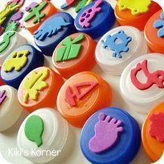 bottle cap stamps using foam stickers