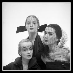 Hat fashions by Mr. John worn by unidentified model, Martha Boss (middle) and Dovima (right), photo by Milton Greene for LIFE, January 23, 1951