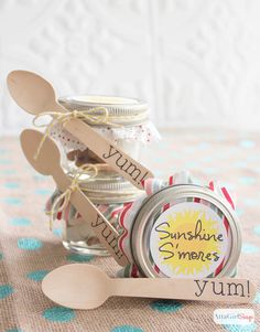 Sunshine s'mores are such a cute idea – assemble the ingredients in a little Ball jar and let them sit out in the sun until they melt!