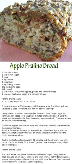 Apple Praline Bread DMR: I miss making apple bread. Been a long time....might try it with coconut flour and Swerve...or maybe just the regular yummy recipe given here!