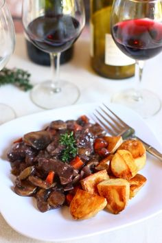 Beef Bourguignon with Roasted Potatoes.  Total Comfort food.