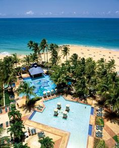 San Juan, Puerto Rico Marriot Stelliars Casino. Swim up bar for us, water slide for kids.  Pre and post cruise stay